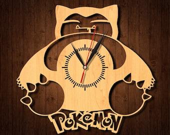 Pokemon clock, Pokemon wooden clock, Pokemon HDF clock, Pokemon acrylic clock, wall clock, wood clock, home decor, Pokemon-1