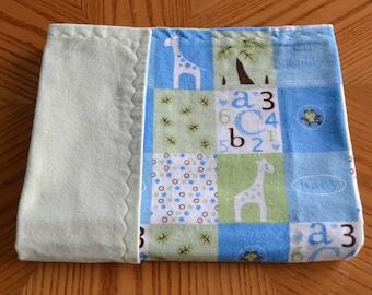 Giraffe Baby Blanket: flannel baby blanket, soft baby blanket, baby gift, baby shower gift, alphabet baby gift, blue nursery, green nursery