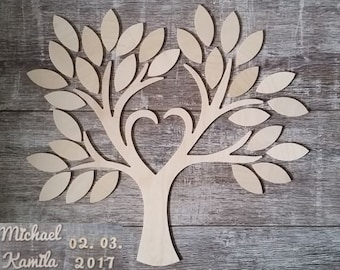 Wedding tree - guestbook wedding wedding tree from wood personalized type 3-30 guests