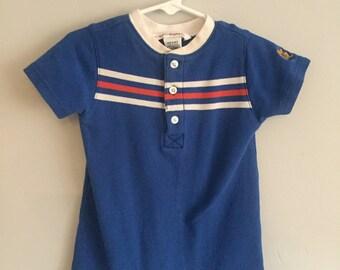 SALE Gymboree Infant Boys Blue Romper with Stripes across Chest 6-12 months
