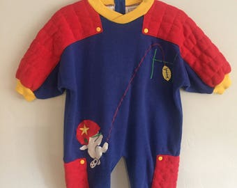 SALE Fred Bear Infant Boy Red, Blue, and Yellow Romper with Football Decal