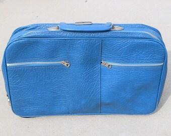 Vintage Blue K-Line small suitcase carryall bag laptop bag