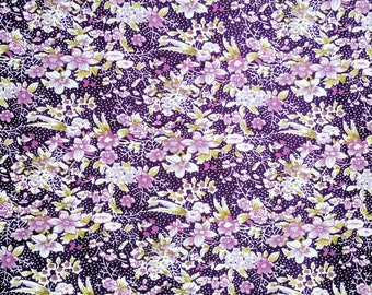 Purple Floral Fabric - Floral Fat Quarter - Fabric with Flowers - Flower Fabric - Flower Fat Quarter - Purple Cotton Fabric - Maroon Floral