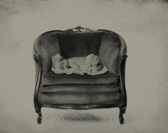 Vintage Barrel Chair, Wet Plate Look, Newborn Digital Background