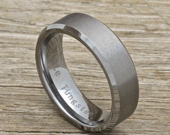 Men's Tungsten Wedding Band, 7mm Comfort Fit Beveled Edge Ring