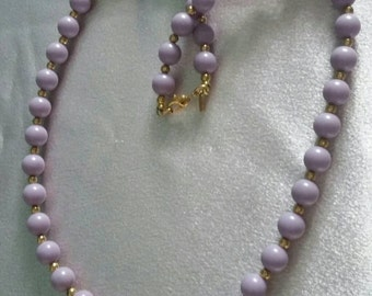 Lavender Monet beaded vintage necklace