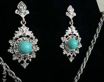 Silver and faux turquoise stone filigree necklace and post earrings