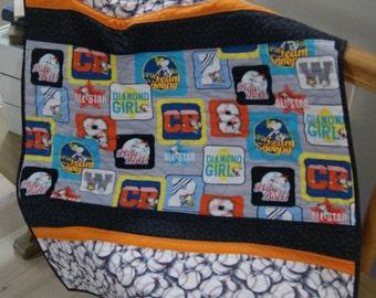 Snoopy, All Star Baseball, Baseball, Gender neutral quilt, baby quilt, quilt, blanket, baby blanket, Snoopy quilt, baseball baby quilt