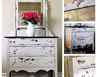 SOLD EXAMPLE...Painted furniture, custom order, shabby chic dresser, farmhouse dresser, vintage dresser, Chippy dresser, rustic