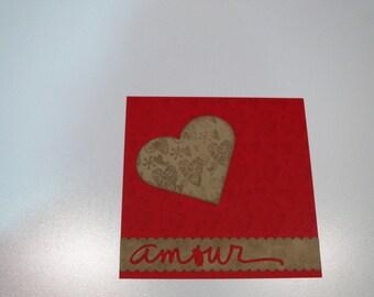 Valentine heart kraft card