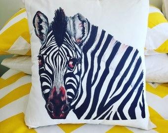 Cushion - Zebra; my original artwork digitally printed throw pillow.