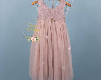 Blush Pink Girls Lace Bodice Long Length Tulle Flower Girl Dress Birthday Party Dress Special Occasion Dress