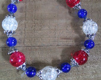 Red, white and blue beaded stretch bracelet