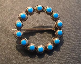 1950s Sterling Silver Turquoise Circle Brooch