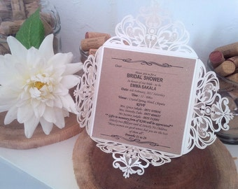 Ivory Square Laser Cut Wedding Invitations Cards