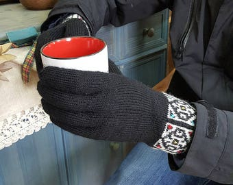 Jacquard Pattern Men Winter Gloves Cold Weather Hand Knit Woolen Gloves Set Gloves Hat Collar Gift for Him Gloves Knit Fair Trade Gloves