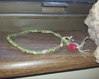 Green and brown hemp anklet