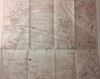Vintage Map of London - Putney, Fulham, Barnes & Roehampton