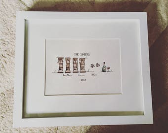 Personalised Wellington Boots Family Painting - A5 Framed