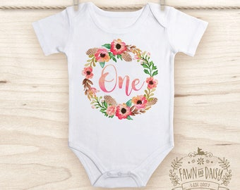 One Birthday Onesie® - First Birthday Outfit - Boho Baby Girl Clothes - Girls Birthday Shirt
