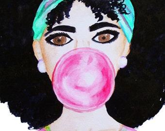 Natural Curly Hair Original Watercolor Painting, Woman Wall Art, Bubble Gum Painting