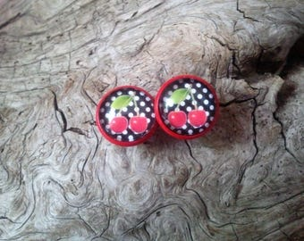 "Cabochon 12mm earrings, red base, ""cherry and small polka dots"" ""dots and cherry's"""