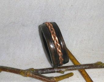 Wood Ring Copper Braid and Dark Eucalyptus bent wood ring, Natural Jewelry, Custom Ring, Wedding Band, Wood Rings, Anniversary Ring