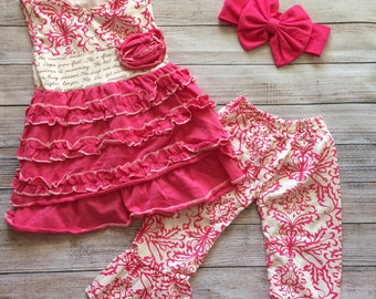 Pink damask girls boutique outfit