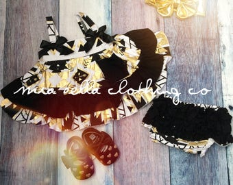 Baby black And Gold swing outfit
