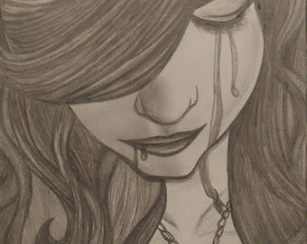"Graphite drawing - ""Sorrow of her Evil"""