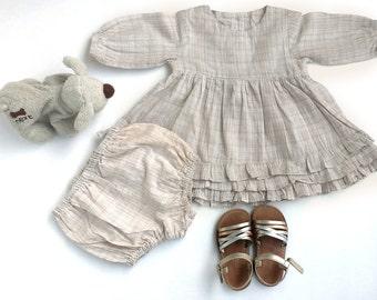 Birthday dress, baby girl's dress , occasion dress, ruffle dress, baby bloomers, cotton dress, toddler girl's dress, size 6m,12m,18m,2yr