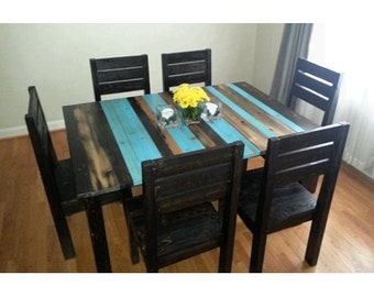 Rustic Distressed Dining Room Set / rustic kitchen table and chairs