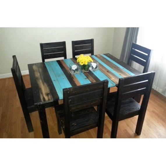 rustic distressed dining room set / rustic kitchen table and