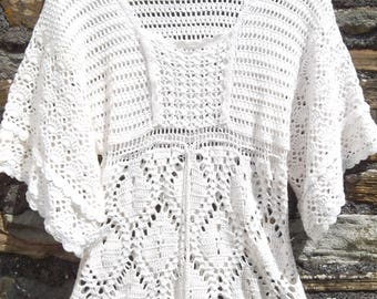 Vintage 70s 80s crochet knit Angel Sleeve Tunic  dress top shirt Cream / Off White Size S