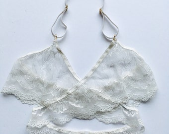 Cream Lace bralette cross design
