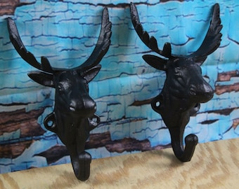 Cast Iron Moose Wall Hook Black Lot of 2