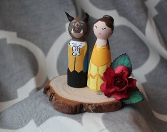 Beauty and the Beast Peg Doll Wedding Cake Topper *READY TO SHIP*