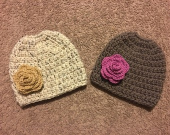 Messy Bun Hat with Rose