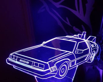 Delorean Acrylic  led lamp CDR file