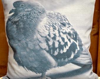 Pigeon cushion, Pigeon themed home ware, Animal prints.