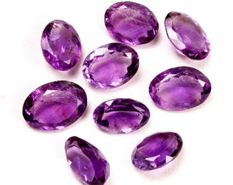 57.60 ct. Rare Natural Amethyst faceted oval cut 9 pieces wholesale lot loose gemstones Ki-15152