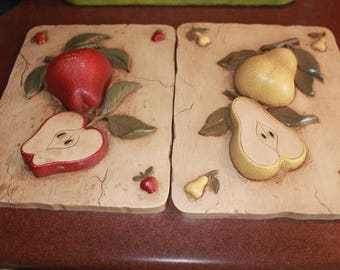 Fruit Wall Hangings, Vintage Kitchen Decor, Vintage Home Interior HOMCO Fruit Plaques, Apple And Pear For The Kitchen