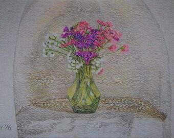 Flower Art, Flower Paintings, Original Art Flowers, Still life Painting, Painting of Flowers, Flower Still life, Flower Wall Art, Pastel Art