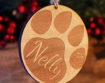 Personalised Paw Print Christmas Tree Decoration | Engraved Wooden Bauble Gift