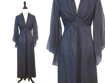 Vintage 1970's Bohemian Navy Dress - Size M