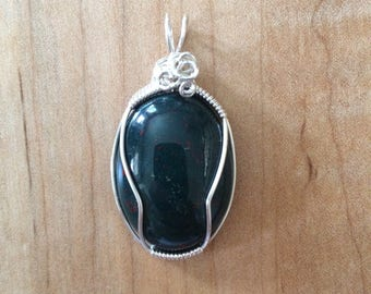 Wire Wrapped Bloodstone Pendant