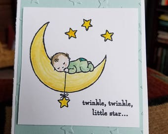 Handmade Twinkle Baby Card and Envelope