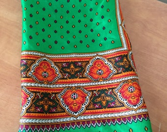 Vintage Anne Klein Scarf - Green and Orange Paisley Scarf - 21 inches x 21 inches