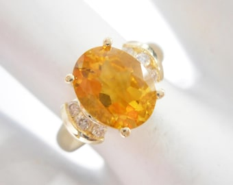 Citrine Ring, Citrine and Diamond, Vintage Rings, Rings, Gold Ring, 14k Yellow Gold 1.84 TCW Oval Citrine & Diamond Ring Sz 6 #2784