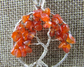 Handmade carnelian and sterling silver necklace